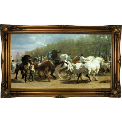 'The Horse Fair 1852' Framed Oil Painting Print on Canvas in Black Format: Old Gold Framed, Size: 24.5