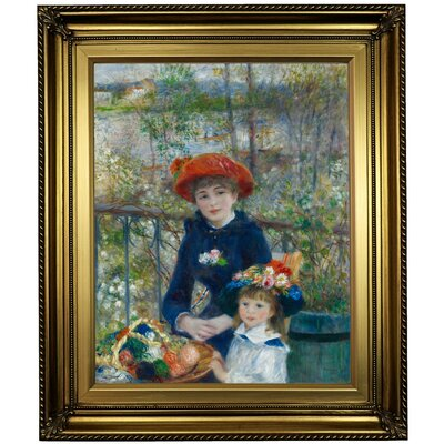 'Two Sisters (On the Terrace) 1881' by Pierre-Auguste Renoir Framed Oil Painting Print on Cavas Format: Light Gold Framed, Size: 26