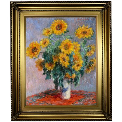 'Sunflowers' by Claude Monet Framed Oil Painting Print on Canvas Format: Light Gold Framed, Size: 26