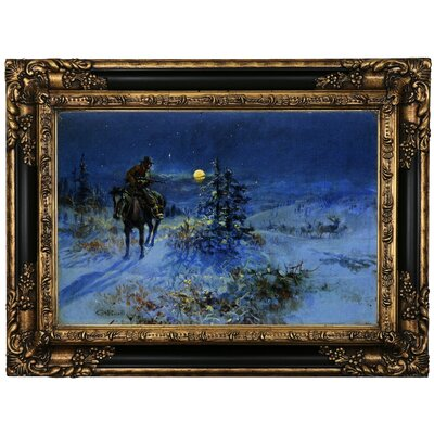 'Joshing Moon' Framed Oil Painting Print on Canvas Format: Black/Gold Framed, Size: 17.25