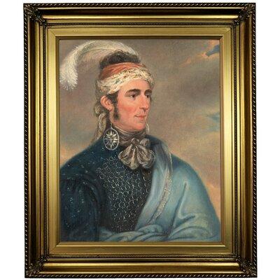 'Portrait of Major John Norton as Mohawk Chief Teyoninhokarawen' Framed Oil Painting Print on Canvas Format: Light Gold Framed, Size: 26
