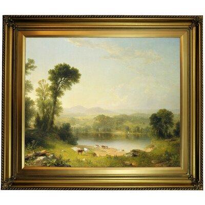 'Pastoral Landscape 1861' Framed Oil Painting Print on Canvas Format: Gold Framed, Size: 26