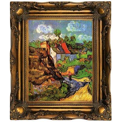 'Houses' Framed Oil Painting Print on Canvas Format: Dark Gold Framed, Size: 19.5