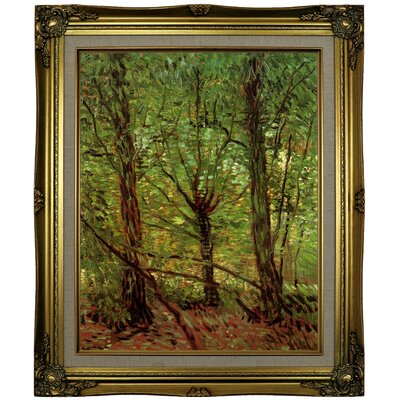 'Trees and Undergrowth' by Vincent van Gogh Framed Oil Painting Print on Cavas Format: Brown/Gold Framed, Size: 25.25