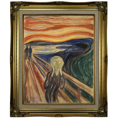 'The Scream 1910' Framed Oil Painting Print on Canvas in Gold Format: Brown/Gold Framed, Size: 25.25