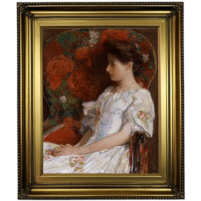 'The Victorian Chair 1906' Framed Oil Painting Print on Canvas Format: Light Gold Framed, Size: 26
