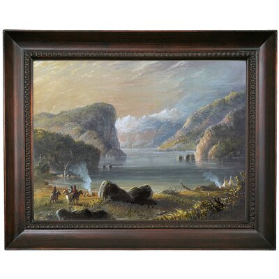 'Lake Scene 1858' Framed Oil Painting Print on Canvas Format: Chocolate Brown Framed, Size: 15.5