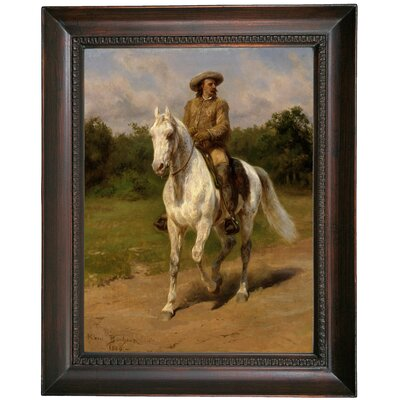 'Col William F.Cody Buffalo Bill 1889' Framed Oil Painting Print on Canvas Format: Dark Copper Framed, Size: 19.5'' H x 15.5'' W x 1.5'' D