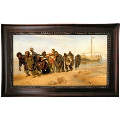 'Barge haulers on the Volga 1870' Framed Print on Canvas Format: Brown Frame, Size: 15.5