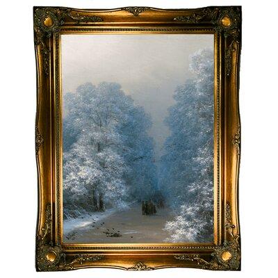 'Winter Landscape 1876' Framed Oil Painting Print on Canvas Format: Ornate gold Framed, Size: 31.5