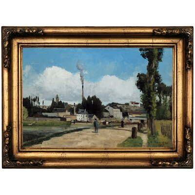 'Banks of the Oise at Pontoise 1867' by Camille Pissarro Framed Print on Canvas Format: Gold Frame, Size: 16.5