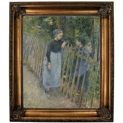 'Conversation 1881' by Camille Pissarro Framed Oil Painting Print on Canvas Format: Dark Gold Framed, Size: 30.25'' H x 26.25'' W x 2.75'' D