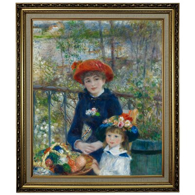 'Two Sisters (On the Terrace) 1881' by Pierre-Auguste Renoir Framed Oil Painting Print on Cavas Format: Yellow Framed, Size: 28.15