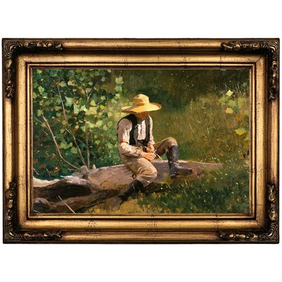 'The Whittling Boy' by Winslow Homer Framed Oil Painting Print on Canvas Format: Antique Gold Framed, Size: 16.5