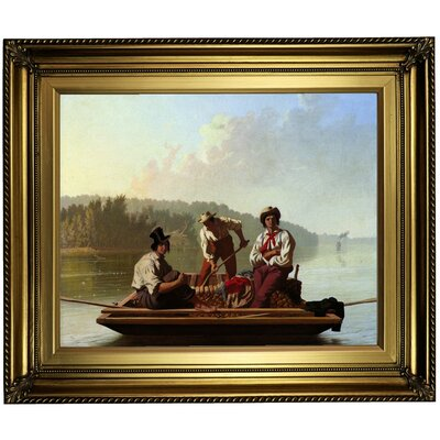'Boatmen on the Missouri 1846' Framed Oil Painting Print on Canvas Format: Dark Bronze Framed, Size: 22'' H x 26'' W x 1.5'' D