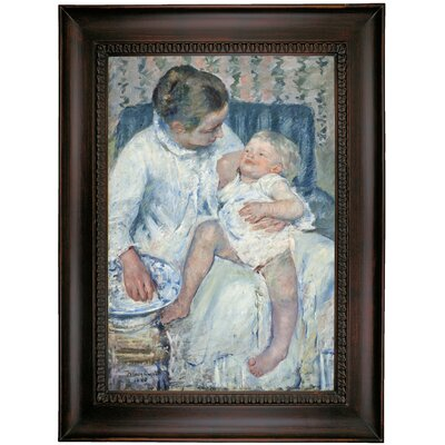 'Mother About to Wash Her Sleepy Child' by Mary Cassatt Framed Oil Painting Print on Canvas Format: Charcoal Framed, Size: 35