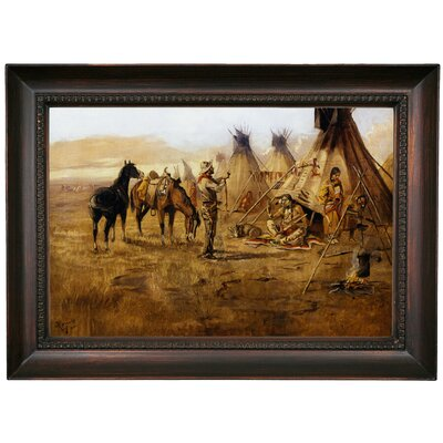 'Cowboy Bargaining for an Indian Girl 1895' Framed Oil Painting Print on Canvas Format: Chocolate Framed, Size: 15.5'' H x 21.5'' W x 1.5'' D