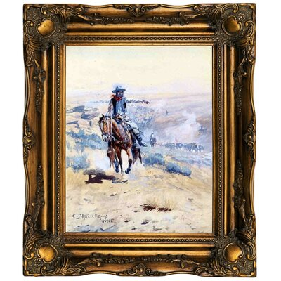 'Pointing Out the Trail' Framed Oil Painting Print on Canvas Format: Dark Gold Framed, Size: 19.5