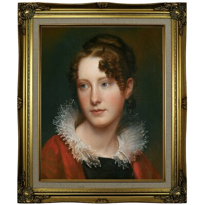 'Portrait of Rosalba Peale 1820' Framed Oil Painting Print on Canvas Format: Brown/Gold Framed, Size: 25.25