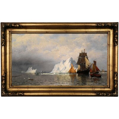 'Whaler and Fishing Vessels near the Coast of Labrador 1880' Framed Oil Painting Print on Canvas Format: Antique Gold Framed, Size: 16.5