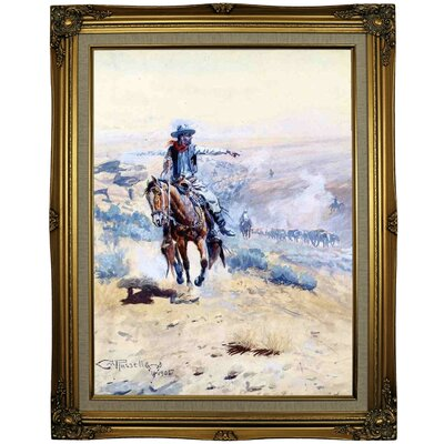 'Pointing Out the Trail' Framed Oil Painting Print on Canvas Format: Gold Framed, Size: 29.25
