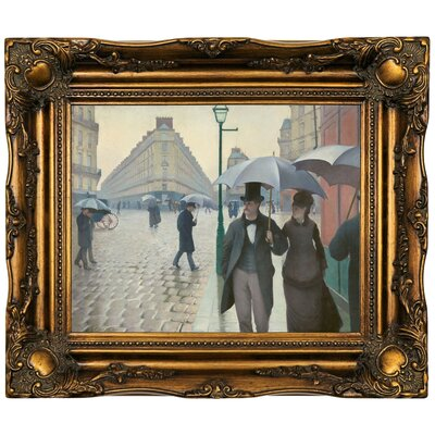 'Paris Street in Rainy Weather 1877' Framed Oil Painting Print on Canvas Format: Dark Gold Framed, Size: 16.5