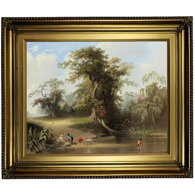 'Landscape - Rural Scene 1845' Framed Oil Painting Print on Canvas Format: Gold Framed, Size: 22