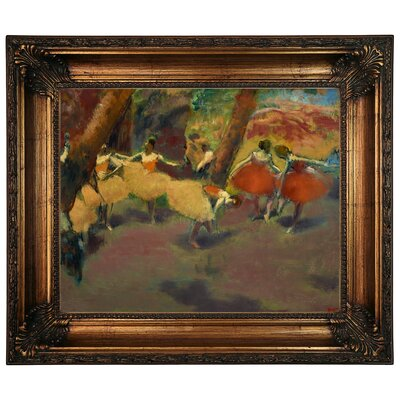 'Before the Performance 1896' by Edgar Degas Framed Print on Canvas Format: Dark Gold Frame, Size: 22.25