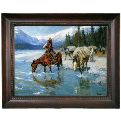 'Bow River Banff' Framed Oil Painting Print on Canvas Format: Chocolate Framed, Size: 15.5'' H x 19.5'' W x 1.5'' D