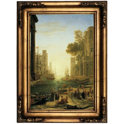 'Landscape with the Embarkment of Saint Paula Romana in Ostia' Framed Oil Painting Print on Canvas Format: Bronze Framed, Size: 22.5