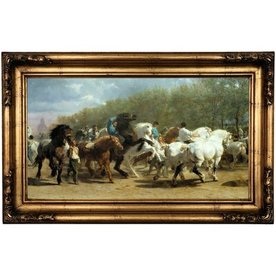 'The Horse Fair 1852' Framed Oil Painting Print on Canvas in Black Format: Antique Gold Framed, Size: 16.5