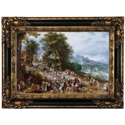 'Flemish Fair 1600' Framed Oil Painting Print on Canvas Format: Black Framed, Size: 17.25