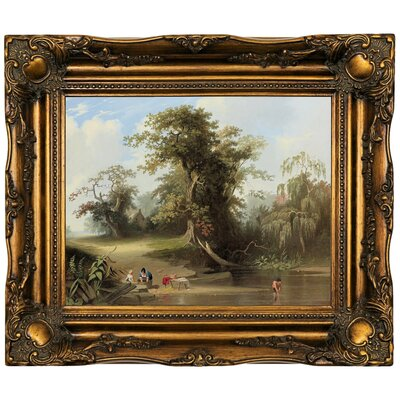 'Landscape - Rural Scene 1845' Framed Oil Painting Print on Canvas Format: Bronze Framed, Size: 16.5