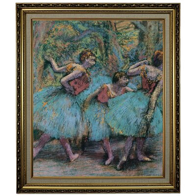 'Three Dancers (Blue Tutus; Red Bodices) 1903' Framed Oil Painting Print on Canvas Format: Yellow Framed, Size: 28.15