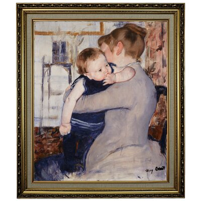 'Mother and Child' by Mary Cassatt Framed Oil Painting Print on Canvas Format: Yellow Framed, Size: 28.15