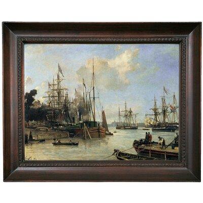 'Harbour ' Framed Oil Painting Print on Canvas Format: Black Frame, Size: 15.5