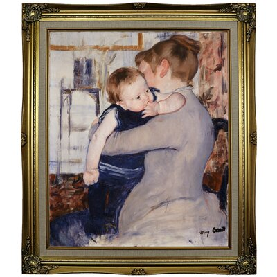 'Mother and Child' by Mary Cassatt Framed Oil Painting Print on Canvas Format: Black Gold Framed, Size: 29.25