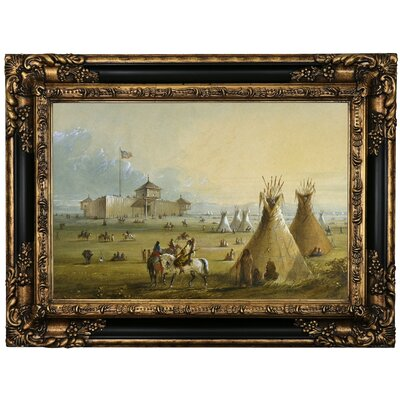 'Fort Laramie 1858' Framed Oil Painting Print on Canvas Format: Black Framed, Size: 17.25