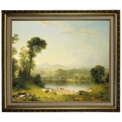 'Pastoral Landscape 1861' Framed Oil Painting Print on Canvas Format: Yellow Framed, Size: 24.15