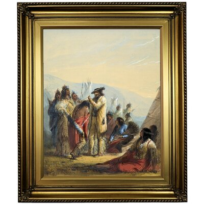 'Presents to Indians 1858' Framed Oil Painting Print on Canvas Format: Light Gold Framed, Size: 26