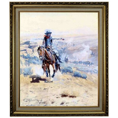'Pointing Out the Trail' Framed Oil Painting Print on Canvas Format: Yellow Framed, Size: 28.15