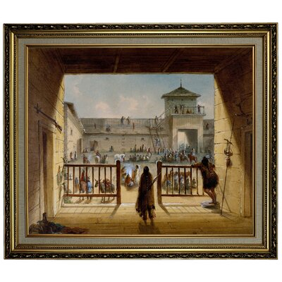 'Interior of Fort Laramie 1858' Framed Oil Painting Print on Canvas Format: Yellow Framed, Size: 24.15