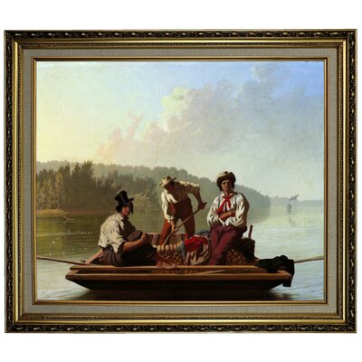 'Boatmen on the Missouri 1846' Framed Oil Painting Print on Canvas Format: Black/Silver Framed, Size: 24.15'' H x 28.15'' W x 1.75'' D