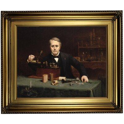 'Thomas Alva Edison 1890' Framed Oil Painting Print on Canvas Format: Light Gold Framed, Size: 22