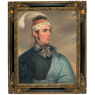 'Portrait of Major John Norton as Mohawk Chief Teyoninhokarawen' Framed Oil Painting Print on Canvas Format: Black/Gold Framed, Size: 25.25