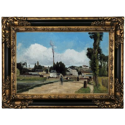 'Banks of the Oise at Pontoise 1867' by Camille Pissarro Framed Print on Canvas Format: Black/Gold Frame, Size: 17.25
