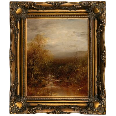 'Pool in the Adirondacks' Framed Oil Painting Print on Canvas Format: Dark Gold Framed, Size: 19.5