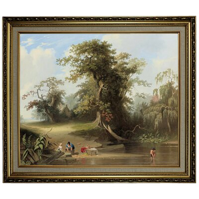 'Landscape - Rural Scene 1845' Framed Oil Painting Print on Canvas Format: Light Gold Framed, Size: 24.15