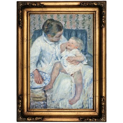 'Mother About to Wash Her Sleepy Child' by Mary Cassatt Framed Oil Painting Print on Canvas Format: Antique Gold Framed, Size: 22.5