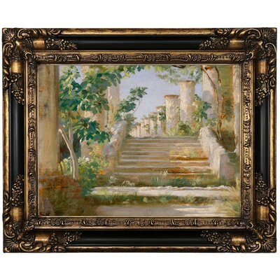 'Loggia' Framed Oil Painting Print on Canvas Format: Brown Framed, Size: 17.25